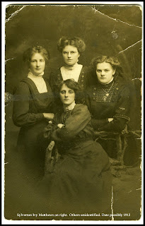 Sylverton Ivy Matthews at right.  Possibly 1912.  Others undientified.