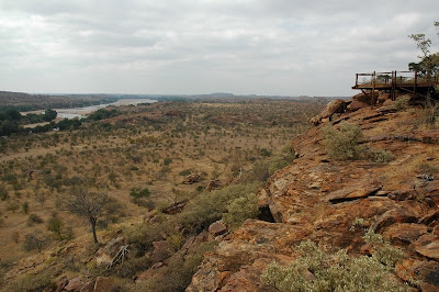 View over the confluence of the shashe and limpopo rivers in