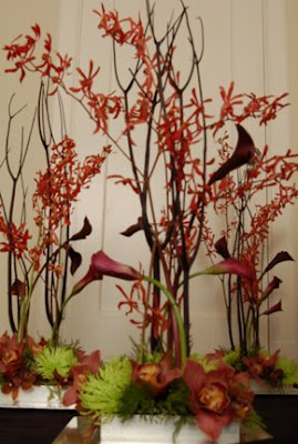 orchid and calla centerpiece