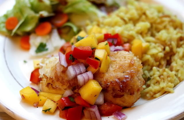 Let's Gather in the Kitchen: coconut crusted chicken with mango salsa
