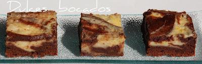 Bizcocho marmoleado de chocolate y queso