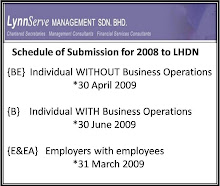 Schedule of Submission for 2008 to LHDN