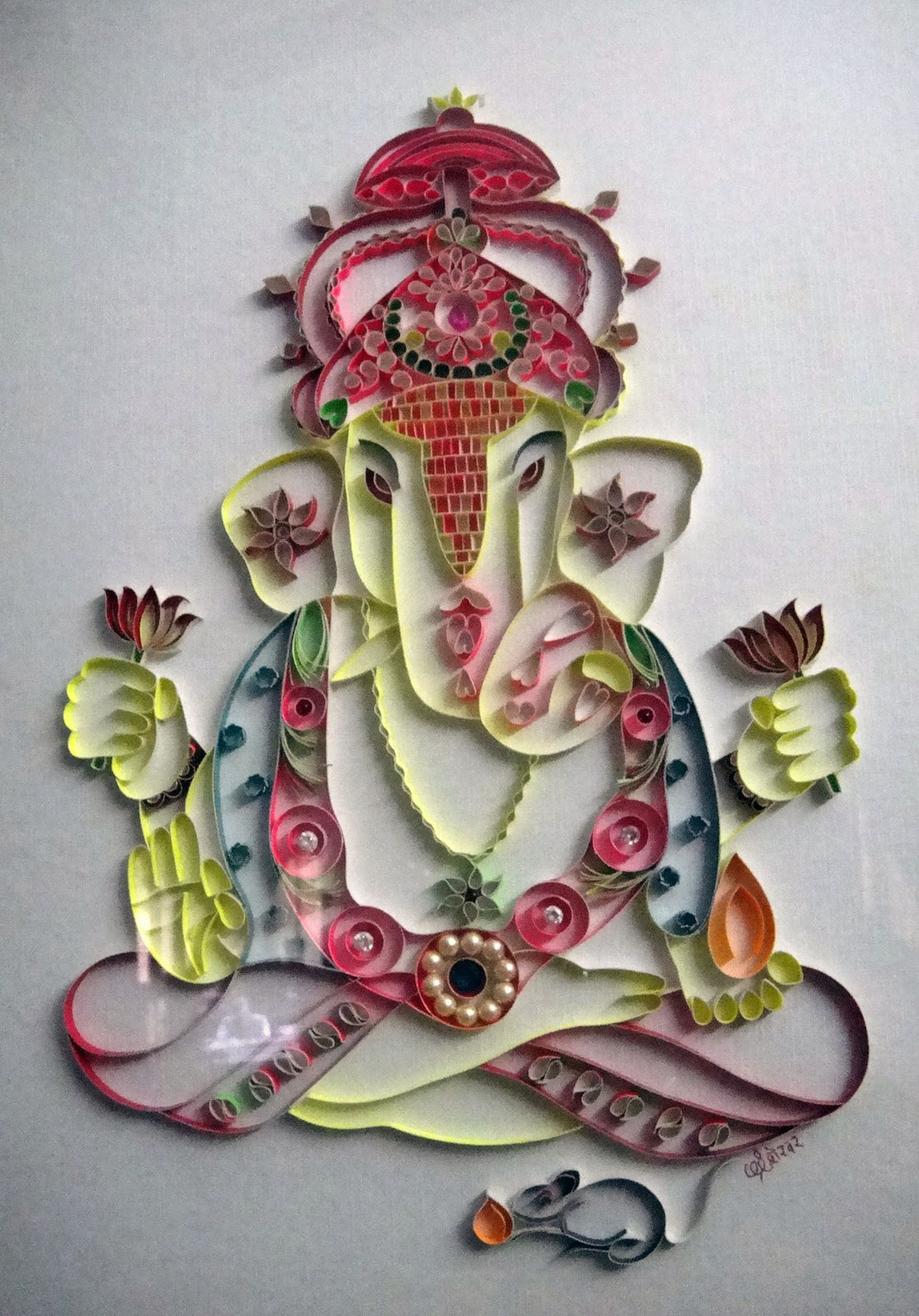 Talent share ganesha craft work using paper strip for Craftwork from waste