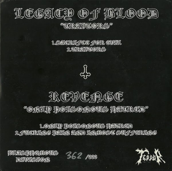 Треклист: Legacy of Blood: 1. Sacriface for Evil 01:19 2. Traitors 05:00