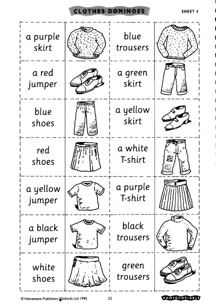 English for children: CLOTHES DOMINOES