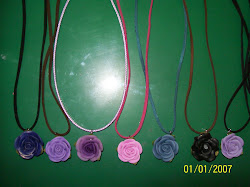 handmade roses/necklace created with polymer clay