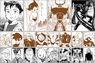 A great comparison of the original Astro Boy manga (in orange) and Naoki Urasawa's Pluto retelling (in black). Source unknown.