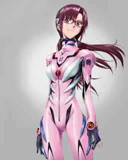 A Yoshiyuki Sadamoto sketch of Mari Illustrious Makinami, the new, bespectacled Eva pilot