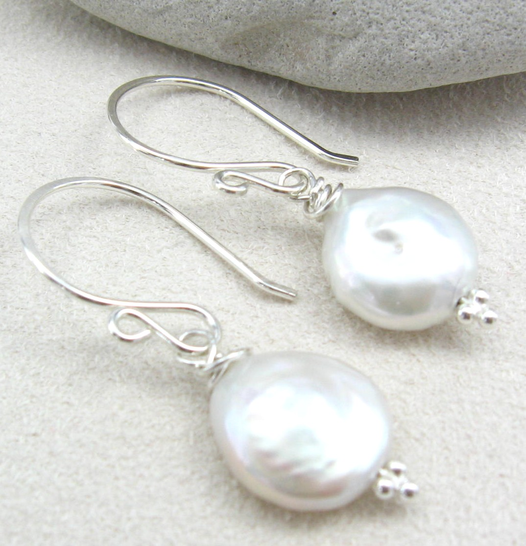 Handmade Sterling Silver Coin Pearl Earrings Adrianna