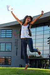 girl celebrating GCSE exam success