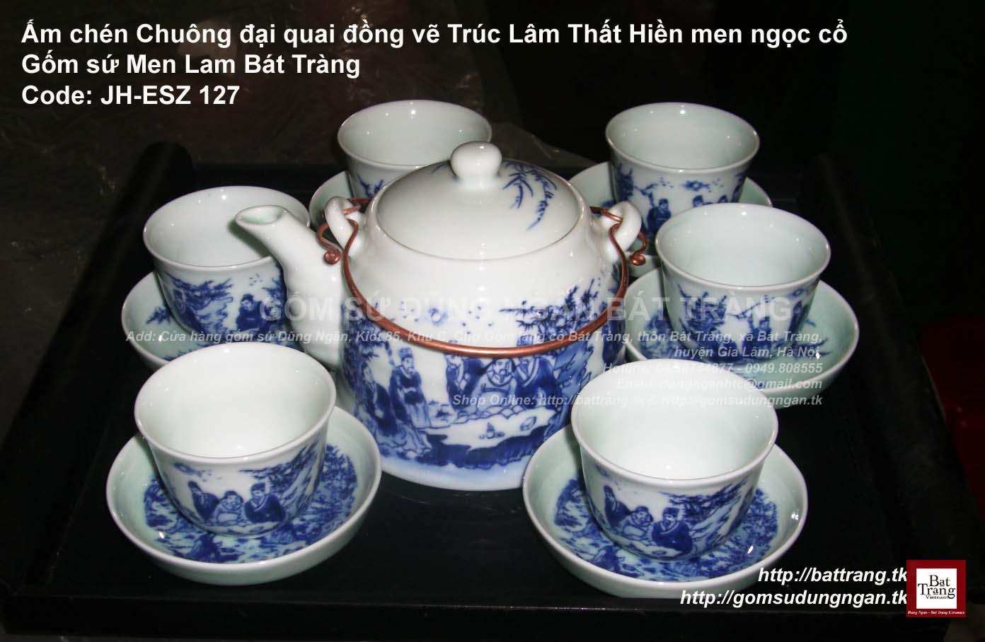 Ấm chén Chuông đại Quai đồng vẽ Trúc Lâm Thất Hiền