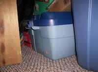 plastic tub in the closet