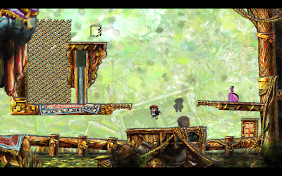 Braid gameplay screenshot: Shadow Tim in action