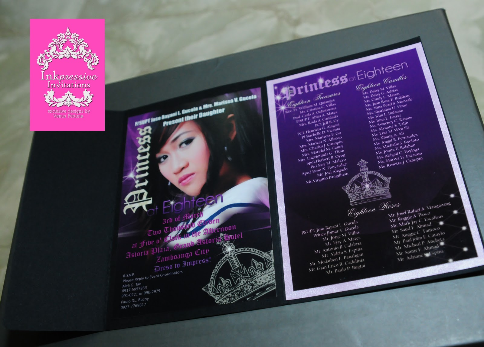 Photo Invitation Black And Violet Motif Princess 18 March 2011