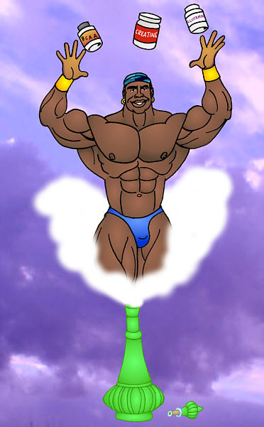 GENIE ROBBY ROBINSON AND HIS ANABOLIC PACK  MUSCLE ANIMATION ART WORK BY AB / Art BINNINGER Robby's dietary anabolic SUPPLEMENTS, OILS and HERBS  for natural fat loss and muscle growth at any age  ▶  www.robbyrobinson.net/anabolic-pack.php