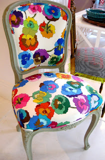 Multi-coloured botanical print chair from Black & Spiro