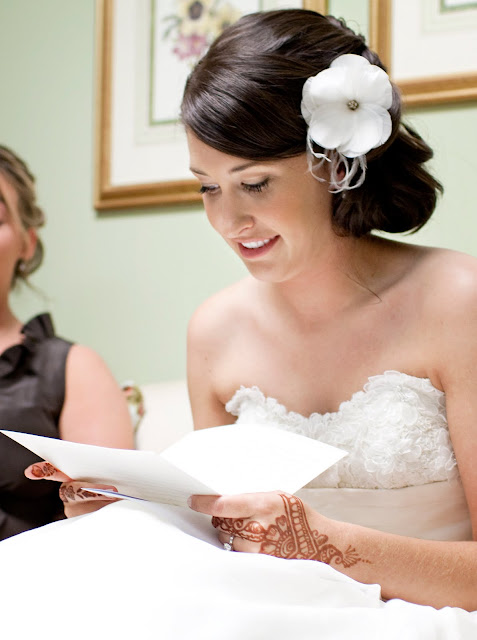 Reading love letter from fiance - portrait by Atlanta wedding photographer