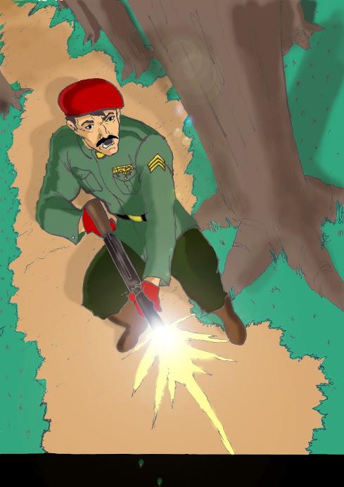 El Comandante Roberto Ramírez enfrentando al Koci en la Selva Amazónica de Santa Clara Venezuela.