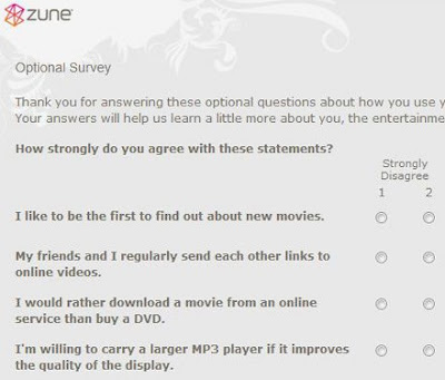 Snapshot of zune survey video downloads