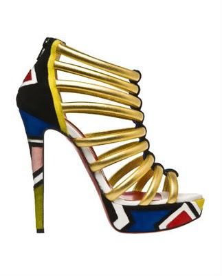 christian louboutin ndebele pattern heels worn by shakira