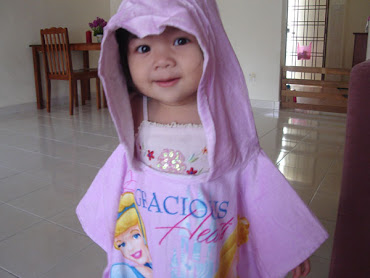 My Cute lil Maira with Princess Hooded Towel..