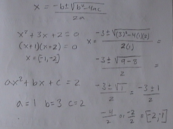 quadratic formula, completeing the square