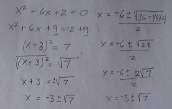 quadratic formula, completeing the square