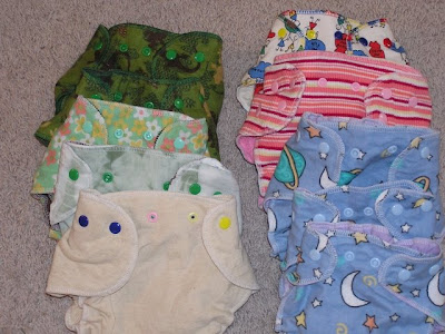 picture of ten cloth diapers, homemade