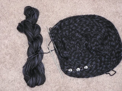 picture of a knitted tam in progress