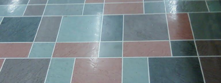 awful blue vinyl tile