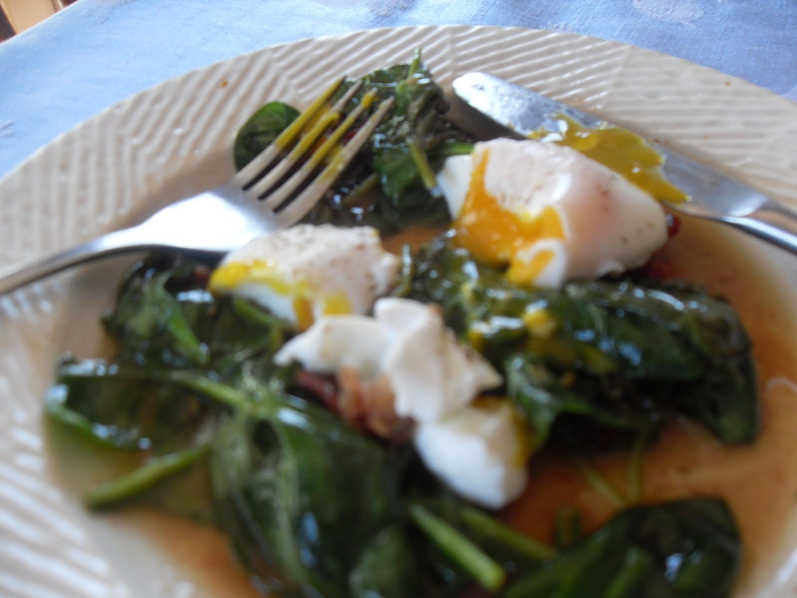 ... and Crunchiness with Christy: Poached Eggs with Spinach Salad