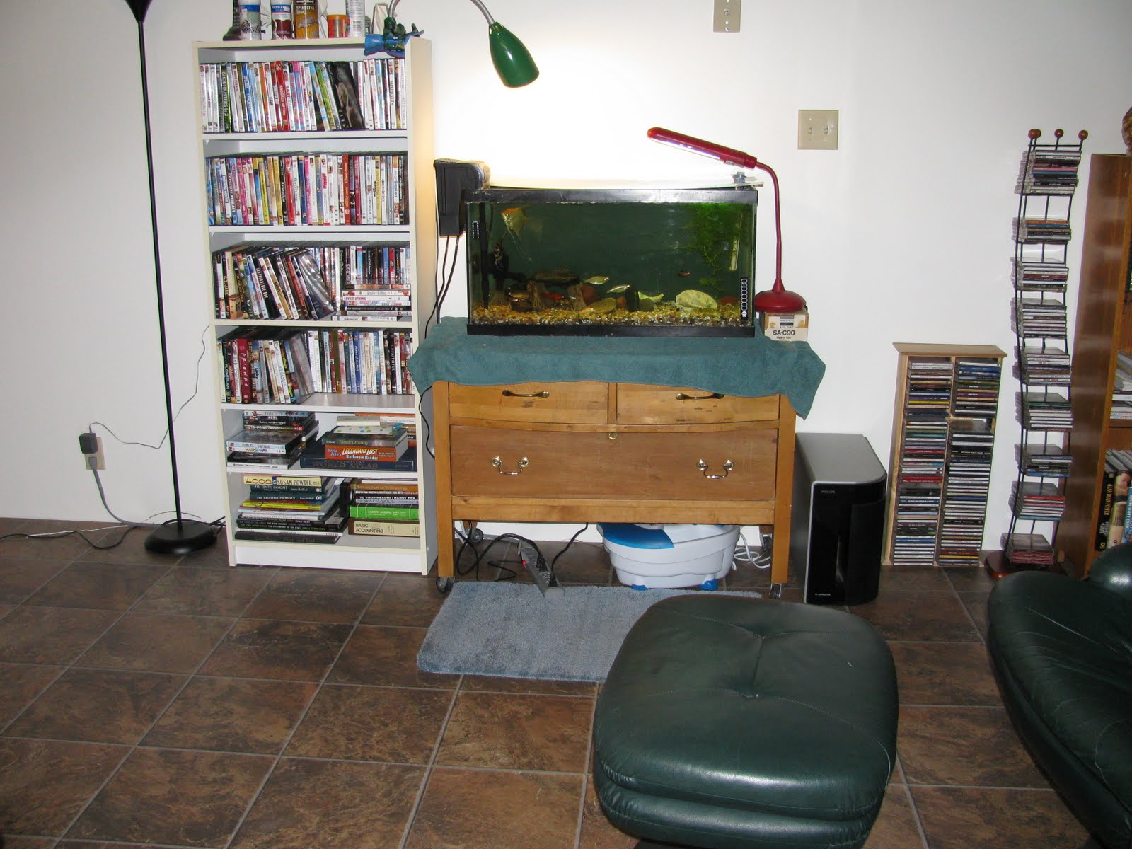 this is my comfy chair where i sit to watch television or my fish