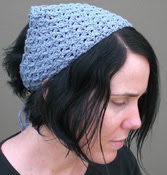 Crochet bandana, chambray cotton