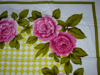Chartreuse Checked Vintage Tablecloth Pink Roses