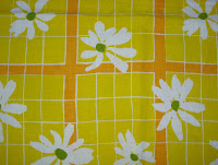 Yellow Checked Vintage Tablecloth with Daisies