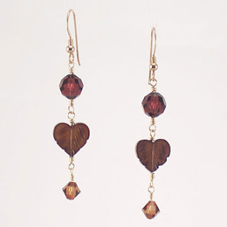 Bronze Leaf Burgundy Topaz Crystal Drop Earrings (E064)