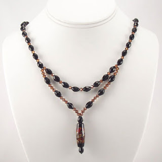 Autumn Crystal Artisan Lampwork Drop Necklace (N018)