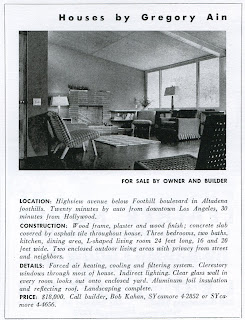 gregory ain - altadena - park planned homes - original arts and architecture advertisement, circa 1947