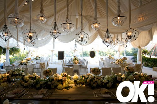 The reception took place under a Muslin tent which was draped over a wooden