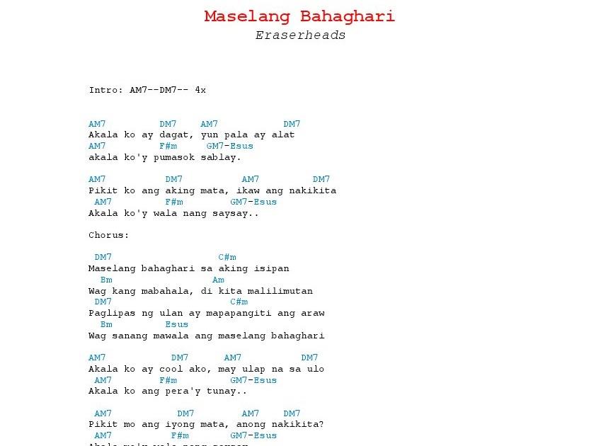 Maselang Bahaghari Chords - Eraserheads guitar tabs and chords