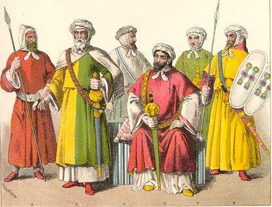 La moda morisca se caracterizaba por su colorido y comodidad. Solía constar de túnica larga y turbantes (para los hombres) y velo (para las mujeres)