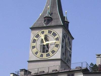 Clock face at St. Pter's in Zurich