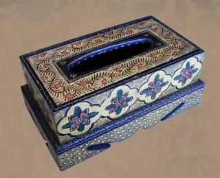 Antique Tissue Box with Batik Decoration