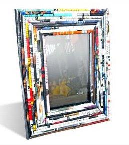 Newsprint used decorative mirror