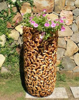 Natural coconut shell vase