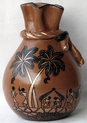 Flower vase painting, Antique Flower Vase, Vase, Handicraft Design, Clay Handicraft