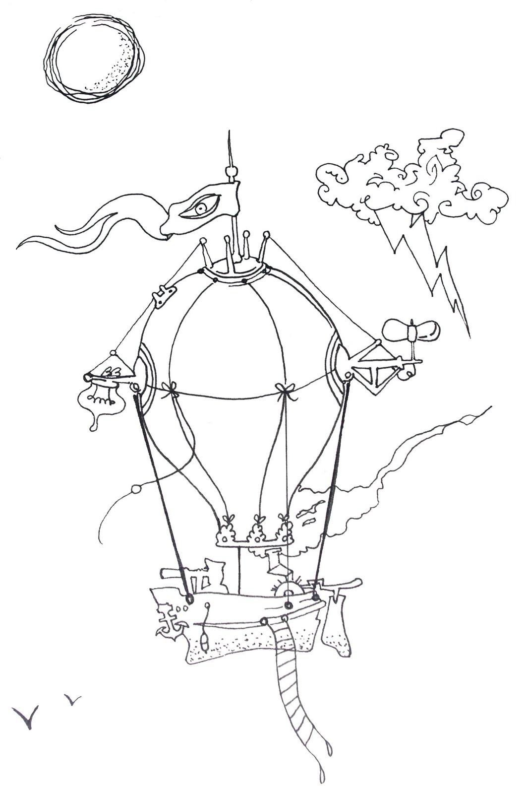 Montgolfi re dessin couleur - Dessin montgolfiere ...