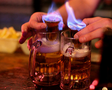 flaming tequils shots 