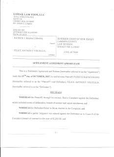 Anthony visceglia defendant defamationbreach of contract settlement agreement page 1 rapacchiano v visceglia defendant visceglia must pay agreed amount and case will be filed as settled docket l 000238 07 platinumwayz
