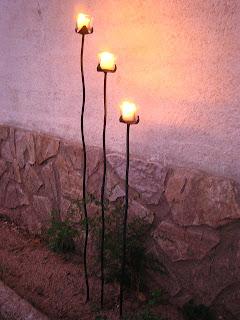 Taller maren forja candelabros para tierra o macetas - Portavelas de hierro ...